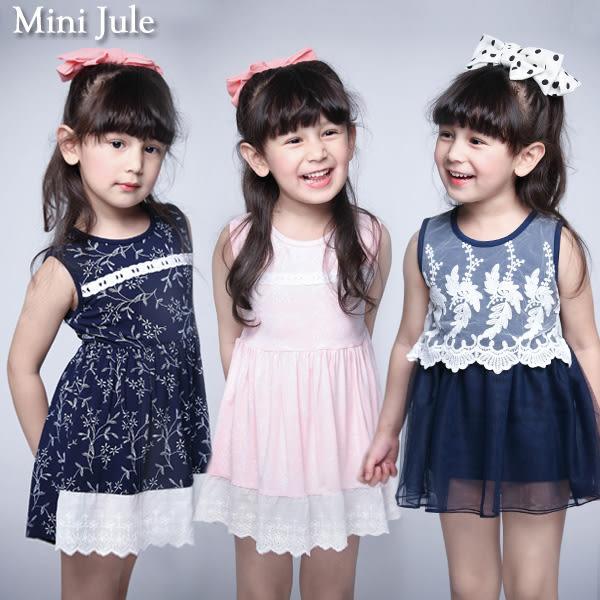 童裝 洋裝 小白花拼接布蕾絲綁帶/線繡花草無袖洋裝(共3款)