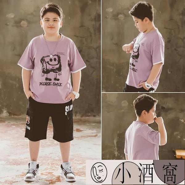 小孩短袖上衣 兒童t恤短袖男夏裝胖童夏季男童加肥加大大碼童裝T潮【小酒窩】