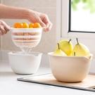 日式雙層瀝水籃廚房洗菜盆客廳水果盤 家用小號塑料菜籃子洗菜籃