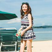民族風泳衣女保守學生遮肚顯瘦韓國連體裙式平角褲小清新游泳衣女第七公社
