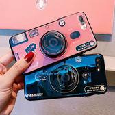 iPhone 8 Plus 全包手機殼 藍光手機套 復古相機保護殼 氣囊支架 防摔保護套 矽膠軟殼 情侶款背殼 i8