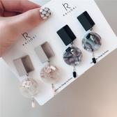 #耳環#鏤空#幾何 方形 大理石紋 水晶 流蘇 氣質 耳釘 耳環