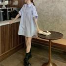 夏季2021新款慵懶風寬松純色襯衣女外穿百搭中長款休閑短袖襯衫潮