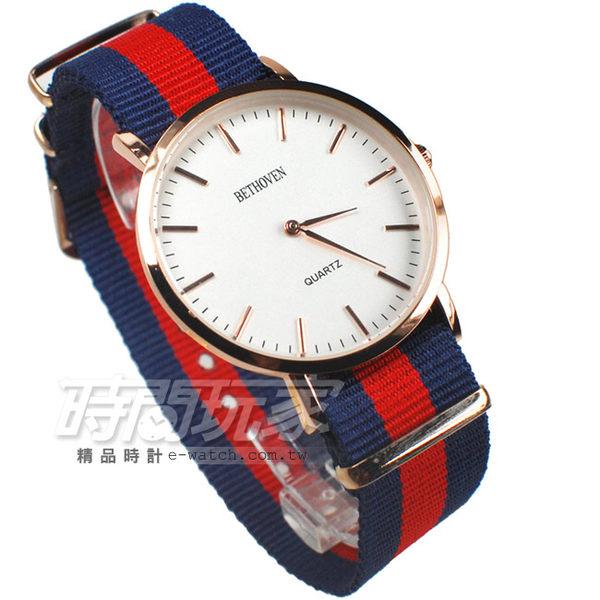 BETHOVEN 優雅巴黎雙配色時尚腕錶 帆布錶帶 造型 女錶/中性錶 玫瑰金電鍍x藍紅 BE5557藍紅3