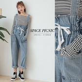 吊帶褲 Space Picnic|高腰綁繩雙口袋單寧吊帶長褲(現貨)【C18081011】