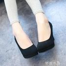 高跟鞋 9-7cm工作鞋女圓頭高跟細跟黑色職業優雅女防水台正裝禮儀3-5公分 快速出貨