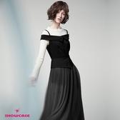 【SHOWCASE】細肩反折一字領合身拼接長紗裙無袖洋裝(黑)