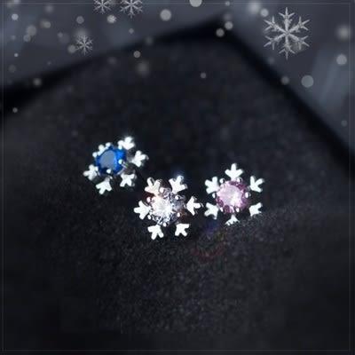 925純銀耳環(耳針式)-氣質甜美浪漫雪花生日聖誕節禮物女飾品3色73dr15[時尚巴黎]