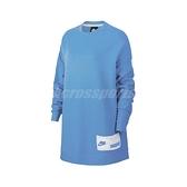 Nike 長袖T恤 NSW Oversize Crew 藍 白 女款 大學T 長版 運動休閒 【ACS】 CT0877-402