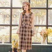 東京著衣【YOCO】英倫女孩格紋排釦毛呢洋裝-S.M.L(172535)