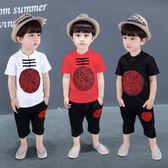 唐裝套裝男童 男童套裝2018夏季新款寶寶純棉刺繡唐裝中國風兒童民族風兩件套潮 米蘭街頭