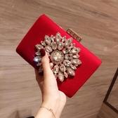 2018新款晚宴包鑲鉆宴會包手拿包結婚包新娘包包女包紅色禮服包