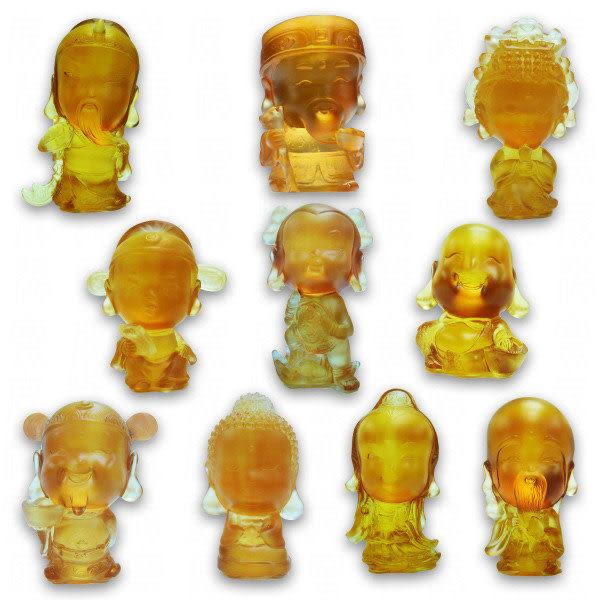 鹿港窯-居家開運水晶琉璃擺飾-Q版好神公仔~全系列10款超質組合+水晶座