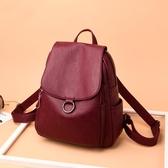 女土包包中年媽媽雙肩包新款大容量背包時尚2019韓版軟皮旅行背包