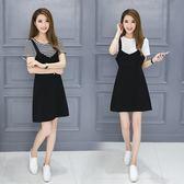 FINDSENSE G5 韓國時尚 胖妹妹 顯瘦 加肥 加大碼 兩件套 吊帶裙 T恤 背心裙 套裝