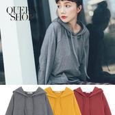 Queen Shop【01096026】素面叉肩袖設計連帽上衣 三色售*預購*