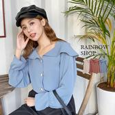 浪漫貝殼釦雪紡上衣-G-Rainbow【A048223】