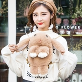 側背手提兔子毛毛包包女新款潮素色包毛絨可愛萌鍊條小包冬季