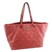 【奢華時尚】秒殺推薦!CHANEL 珊瑚紅色荔枝牛皮銀釦肩背托特購物包(八五成新)#23815