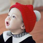[新年戴新帽]寶寶秋冬保暖帽 寶織捲邊Q耳毛球帽  秋冬 柔軟毛球 毛線帽 針織帽0-4Y【JD0070】