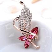 奢華大氣樹葉珍珠胸針女別針簡約水晶胸花