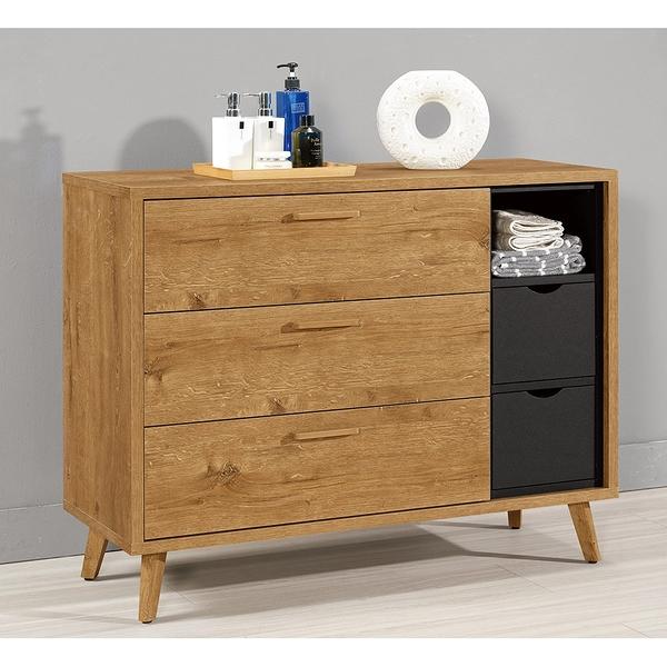 【森可家居】喬納森3.7尺三斗櫃 8CM519-6 木紋質感 衣物收納
