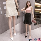 熱賣半身魚尾裙 2021新款春秋半身裙女不規則魚尾裙黑色蕾絲包臀裙顯瘦短裙一步裙 coco