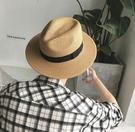FINDSENSE MD 日系 時尚 潮 男 復古 情侶帽子 寬檐草編草帽 太陽