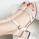 堤娜百麗高跟一字帶羅馬涼鞋女夏新款中跟粗...