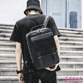 雙肩包 簡約 時尚 潮流 韓版 書包 電腦包 皮質 雙肩背包 搭扣背包