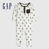 Gap嬰兒 史努比印花柔軟長袖包屁衣 622913-白色