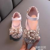 女童鞋兒童軟底公主鞋2021春秋款小女孩寶寶單鞋蝴蝶結水鉆小皮鞋