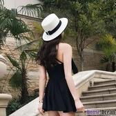 草編帽 帽子女夏天出游沙灘帽海邊遮陽防曬太陽草帽平頂英倫小清新M禮帽