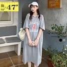 短袖洋裝--輕鬆休閒英文字母印花抽繩連帽短袖連身裙(黑.灰M-3L)-D593眼圈熊中大尺碼◎