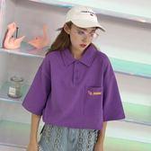 2018夏季新品原宿風寬鬆顯瘦polo衫字母口袋短袖T恤女上衣