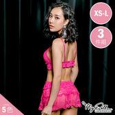 盛夏光年 性感蕾絲情趣睡衣三件組 (桃色/XS-L號適穿) MyDoll