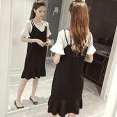 夏季新品 韓版顯瘦套裝裙背帶裙女中長款吊帶連身裙