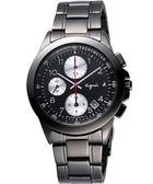 agnes b. 閃耀自我三眼計時腕錶-IP黑 7T92-0LY0K(BF8320P1)