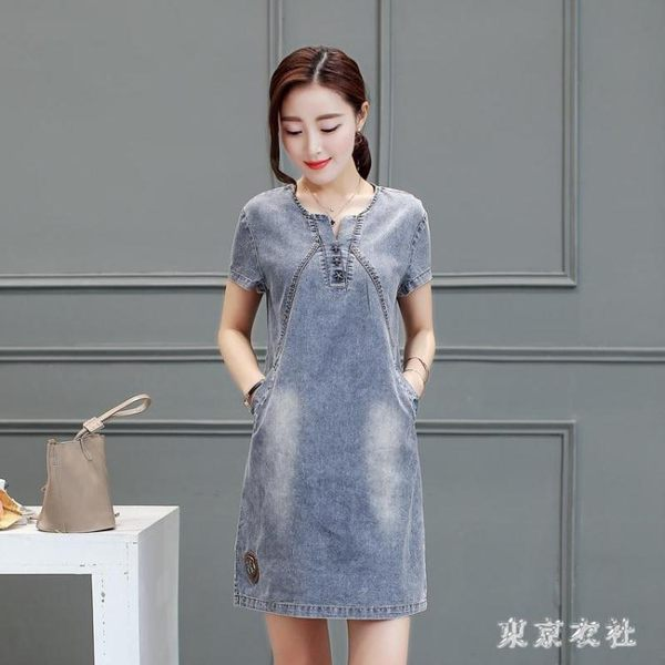 短袖牛仔洋裝2019夏季新款韓版女裝簡約氣質時尚修身顯瘦裙 QG23060『東京衣社』