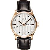 MIDO美度 Multifort 系列經典機械錶-銀x咖啡色錶帶/42mm M0054303603100