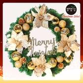摩達客20吋浪漫朵朵聖誕花豪華綠色聖誕花圈福臨圈(香檳雙金系)(台灣手工藝製/免組裝)