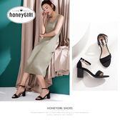 涼鞋 夏季女鞋簡約露趾粗跟高跟鞋中跟一字帶鞋