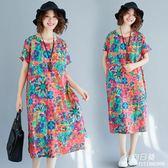 長裙 洋裝 民族風中大尺碼 女裝夏裝新款短袖印花復古文藝寬鬆棉麻中長款連衣裙子