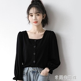 長袖襯衫 秋季新款法式泡泡袖襯衫女黑色長袖襯衣學生顯瘦短款方領上衣 618大促銷