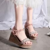 楔型鞋坡跟涼鞋女夏季百搭鬆糕厚底鞋一字帶配仙女裙的鞋子女鞋新年禮物 韓國時尚週