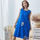 【Tiara Tiara】純棉腰綁帶背心洋裝(藍/灰) 新品穿搭