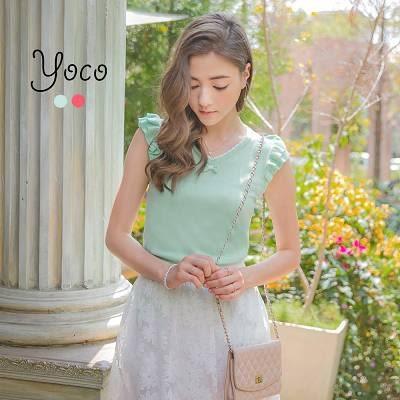 東京著衣【YOCO】甜淨領口蝴蝶結針織無袖上衣-XS.S.M(6014792)