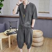 男士短袖T恤中國風棉麻帥氣搭配一套帥氣夏季潮流五分半袖體恤衫 時尚芭莎