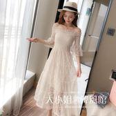 一字肩洋裝 2018夏裝新款韓版氣質中長款一字肩蕾絲連衣裙女收腰仙女初戀裙子-大小姐韓風館