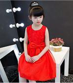 衣童趣♥夏季 甜美女童 蝴蝶結腰帶 玫瑰花連身裙 氣質款洋裝 花童 表演 正式場合必備